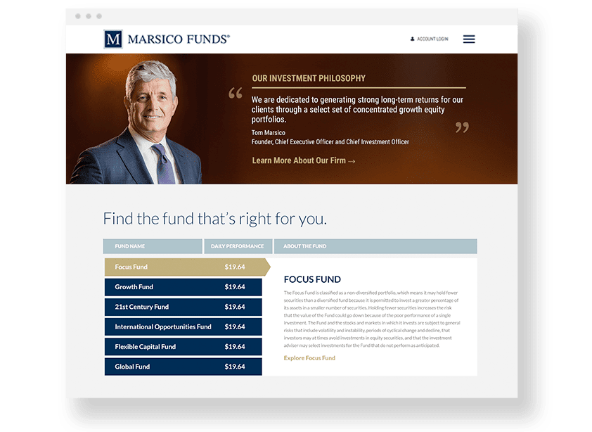 Marsico Funds Website Design