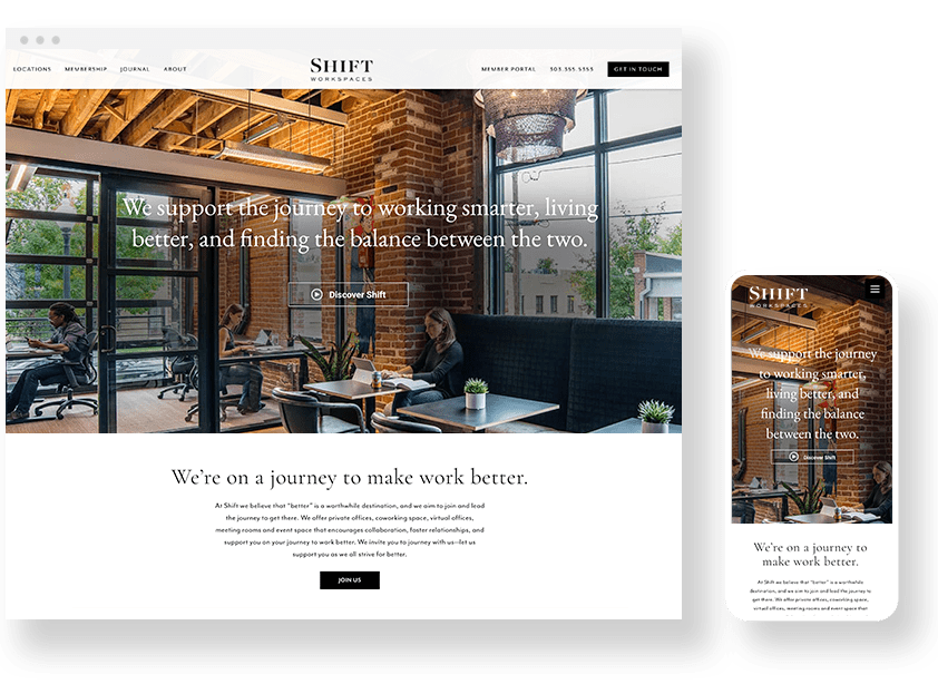 Shift Workspaces Website Design