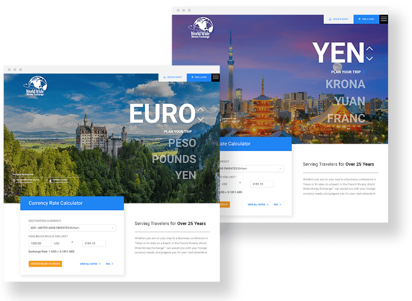 currency website design